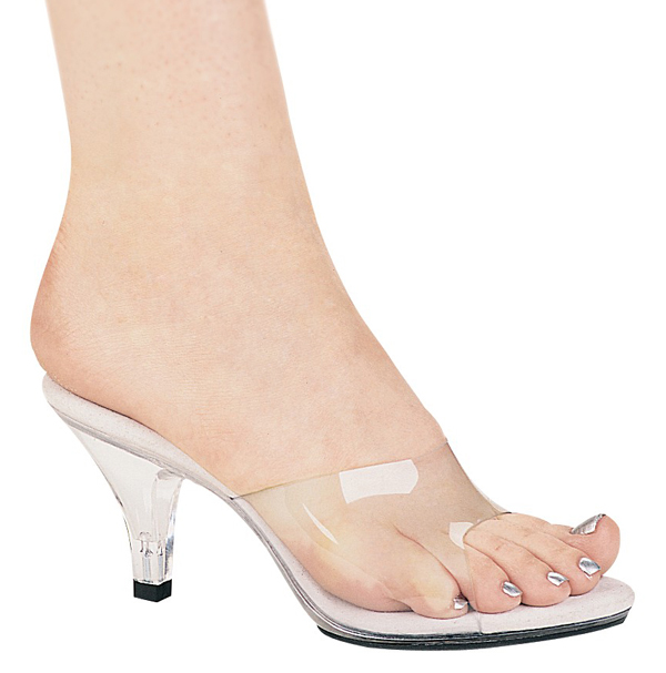 3 Inch Stiletto Heel Clear Mule / Slide