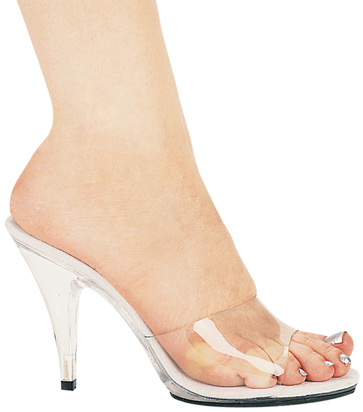 4 Inch Stiletto Heel Clear Mule