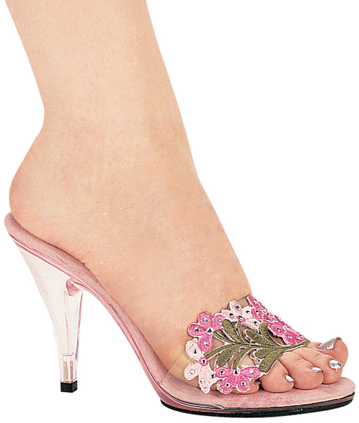 4 Inch Stiletto Heel Flowered Mule w/Rhinestones