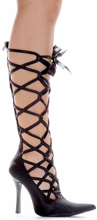 4 Inch Stiletto Heel Knee High Lacing Pumps