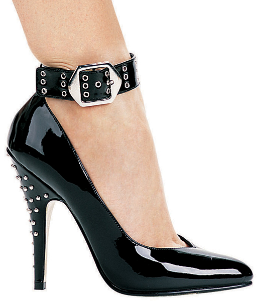 5 Inch Stiletto Heel Classic Ankle Strap Pumps w/ Rivets