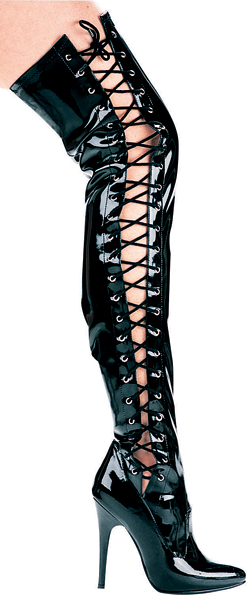 5 Inch Stiletto Heel Side Lacing Thigh High Boots
