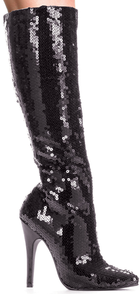 5 Inch Stiletto Heel Knee Boots Covered In Sequins
